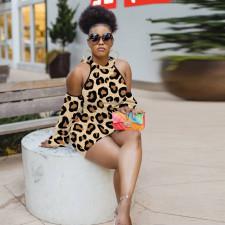 Sexy Leopard Off Shoulder Hooded Bodycon Dress YD-8326