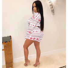 Christmas Printed Long Sleeve Two Piece Shorts Set SHE-7954