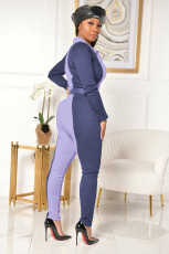 Contrast Color Zipper Long Sleeve Slim Jumpsuit Without Belt ZSD-0357