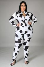 Plus Size 5XL Printed Long Sleeve Zipper Jumpsuits BMF-050