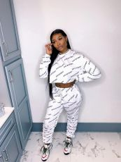 Casual Letter Print Long Sleeve Stacked Pants 2 Piece Sets SFY-201