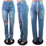 Plus Size Denim Ripped Hole Lace Up Jeans Pants LX-5516