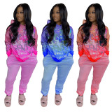 Casual Printed Gradient Hoodies Two Piece Sets JH-204