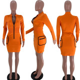 Zipper Pocket Solid Color Long Sleeve Sexy Dress XSF-6023