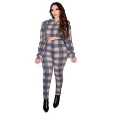 Plaid Print Long Sleeve Pants Fashion Two Piece Set XSF-6025