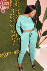 Solid Color Sports Casual Fashion Trousers Two Piece Set YUHF-8043