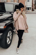 Solid Loose Turtleneck Split Full Sleeve Sweater Tops NY-062