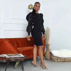 Black Sexy Elegant Puff Sleeve Midi Dress FENF-050