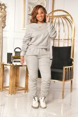 Casual Solid Long Sleeve Ruched Two Piece Pants Set IV-8148