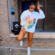 Plus Size Playful Fashion Printed Casual Sweatshirts YUHF-8038