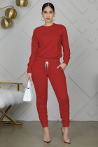 Casual Solid Long Sleeve Two Piece Pants Set WY-6712