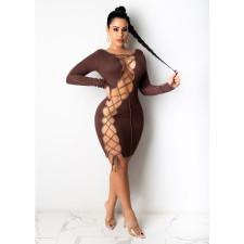 Sexy Long Sleeve Lace Up Hollow Bandage Dress CHY-1289