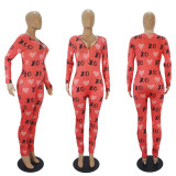 Casual Printed Long Sleeve One Piece Jumpsuits SHD-9457