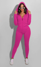 Casual Solid Hooded Zipper Jumpsuits WY-6702