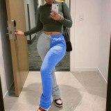 Contrast Color Patchwork Thicken Sweatpants RUF-8139