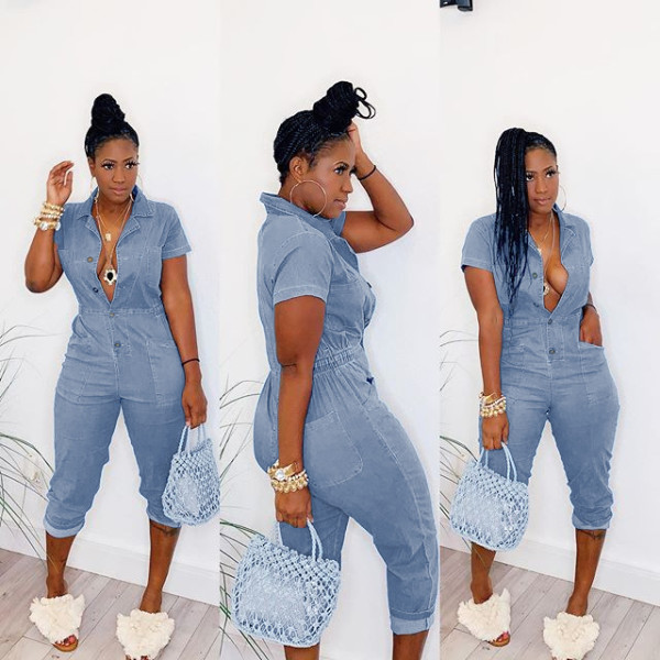 Casual Short Sleeve Denim Jumpsuits WY-6662