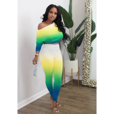 Casual Gradient Long Sleeve Top And Pants Suit XYMF-8032