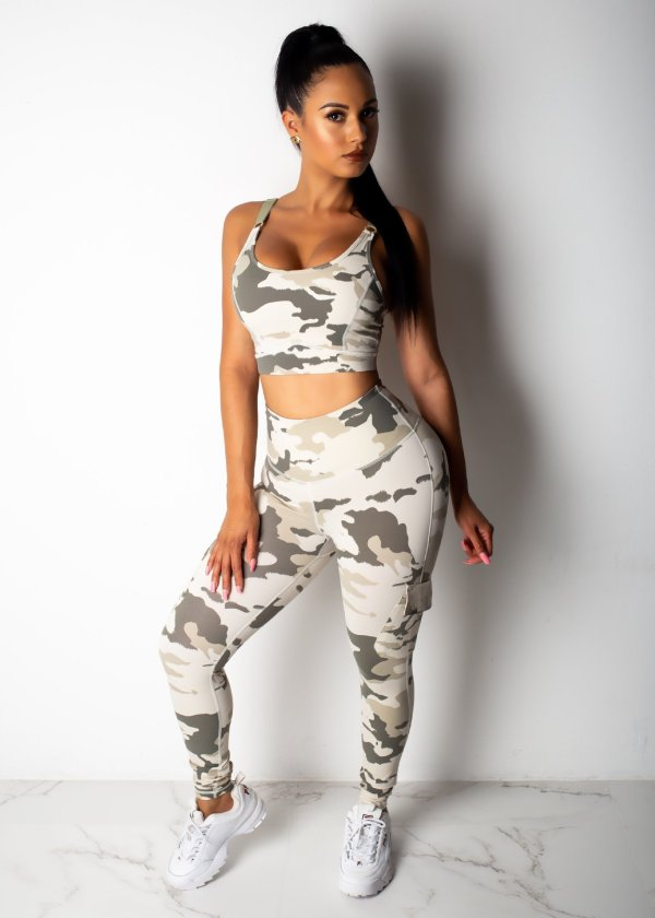 Camo Print Tank Top And Pants 2 Piece Sets WY-6579