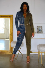 Casual Patchwork Long Sleeve Jumpsuits Without Chain CYAO-8052