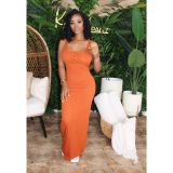 Sexy Sleeveless Solid Color Long Dress XYMF-8028