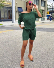 Solid Full Sleeve Sweater Top Shorts Two Piece Sets WY-6659