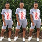 Poker Print Short Sleeve Two Piece Shorts Set WY-6679