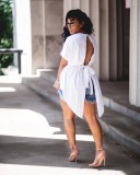 Plus Size Solid Short Sleeve Backless Peplum Tops PWY-6334