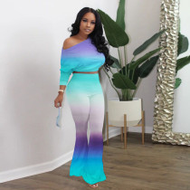 Casual Gradient Long Sleeve Top Flared Pants Suit XYMF-8037
