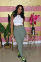 Solid High Waist Casual Skinny Pencil Pants WY-6687