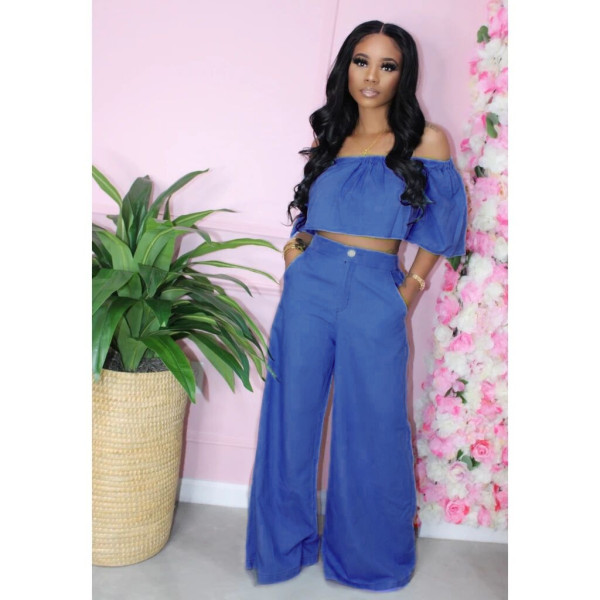 Simple Solid Color Fashion Tube Top And Wide Leg Pants Two Piece Set XYMF-8024