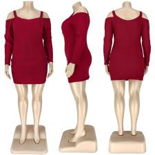 Plus Size 5XL Strap Off Shoulder Long Sleeve Mini Dress ASL-7005
