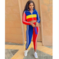 Color Block Casual Coat And Pants Sports Suit ATDF-5207