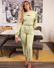 Casual Solid Color Vest +Pullover And Pants Sweatshirts Three Piece Set ATDF-5105
