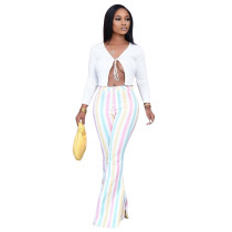 Casual Color Striped Printed Pants ATDF-5201