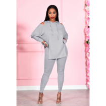 Solid Hooded Off Shoulder Two Piece Pants Set PIN-8542