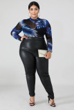 Plus Size 5XL Fat MM PU Skinny Pencil Pants OSM2-5272