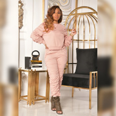 Casual Solid Ruched Long Sleeve O Neck 2 Piece Suits PN-6642