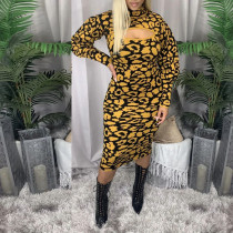Sexy Leopard Turtleneck Long Sleeve Slim Midi Dress YD-8336