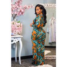 Plus Size Sexy Printed Deep V Neck Slim Maxi Dress YIY-5241