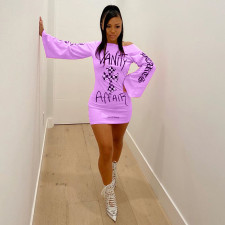 Sexy Print Pullover Long Sleeve Bodycon Dress ATDF-5209