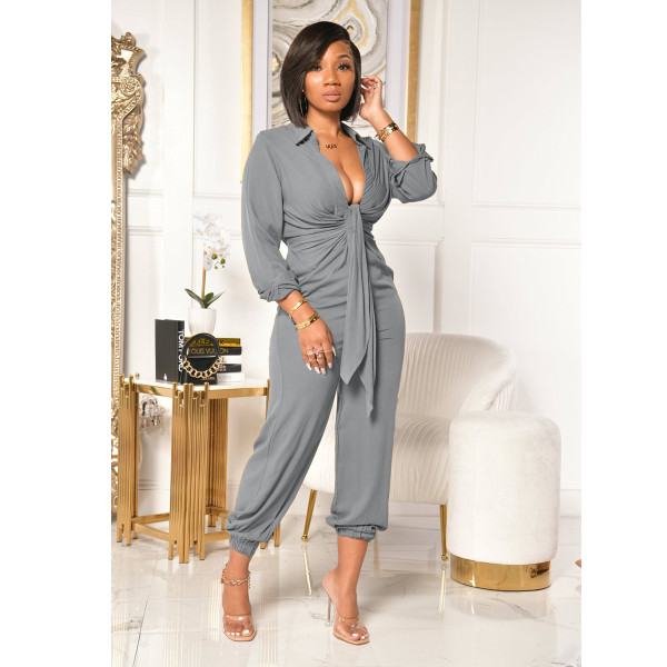 Plus Size Solid V Neck Tie Up Long Sleeve Jumpsuits YIY-5239