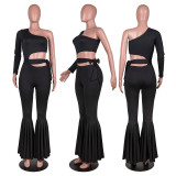 Sexy One Shoulder Sashes Flared Jumpsuits PN-6635