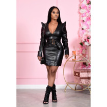 Sexy PU Leather V Neck Belted Long Sleeve Mini Dress MIL-186