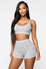 Sexy Knitted Cami Top And Shprts Two Piece Sets LSD-9802