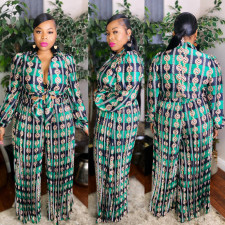 Plus Size 5XL Casual Printed Wide Leg Jumpsuits CYA-1374