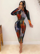 Sexy Tight Print Contrast Dress YJF-8369