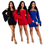 Sexy Off Shoulder Flare Sleeve Ruched Mini Dress YF-9771