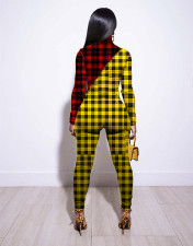 Plus Size Two-color Plaid Print Tight Long Sleeve Jumpsuit WXF-5516