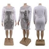 Plus Size 5XL Sequined Feather Club Dress CYA-1356