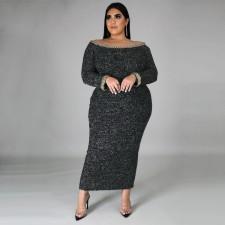 Plus Size 5XL Sexy Slash Neck Full Sleeve Maxi Dress CYA-1344